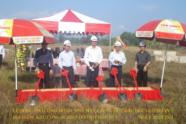 Chau Duc Water Supply Shareholding Company held the groundbreaking ceremony for the largest water plant in Chau Duc district